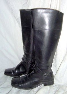 Coup D Etat Riding boots - Made in Brazil of leather.  Black with square heels and toes, buckle embellishment.  Size 8.5 M.