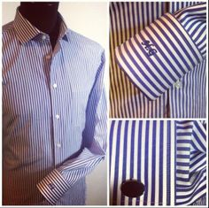 This royal blue striped shirt with French cuffs and personalised monogram is just one example of our extended shirt range