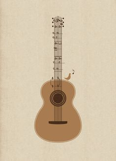 Bird in Tune Guitar. classical notation art print via threadless
