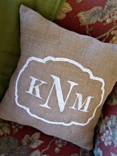 Sweet Burlap Accent Pillow : Personalized Monogram. $25.00, via Etsy.