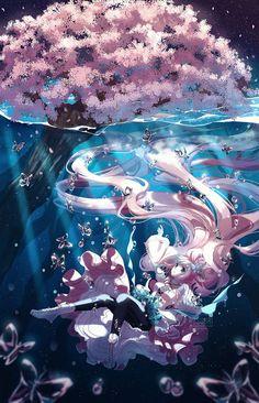 Commission - Underwater Spring - Manga & Anime Paintings by Roslee  <3 <3