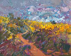 Petite original oil painting of an impressionist California landscape, by Erin Hanson