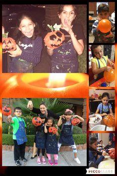 #calabazas De Halloween #globos, papel mache# ramita y hoja #caritas felices