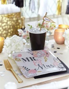 Sales Producers Inc. - Design Design -MR. AND MRS. Paper Tableware - Party Design Design, Bridal Shower, Favors, Table Decorations, Paper, Tableware, Cards, Gifts, Wedding