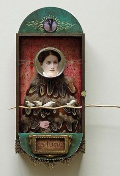 Julia Liger-Belair - Selene made from tin, photo, found objects, acrylic, feathers, polymer clay, wood in 2008