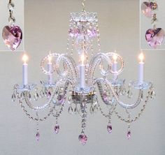View the Gallery T40-414 5 Light 1 Tier Crystal Candle Style Chandelier with Pink Crystals at Build.com.