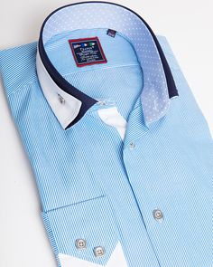 Mens designer shirt   Unique reverse collar shirt for men - Miami Blue