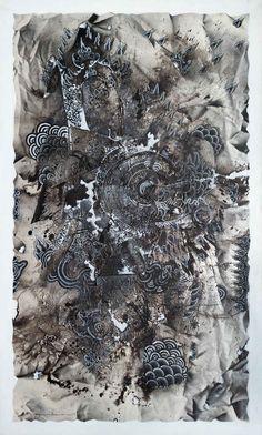 Shadow Dance In Crack Area #5    /   Spray Paint-Acrylic on Canvas   /   150x90cm  /   2017