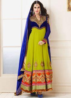 Stunning Green And Blue Faux Chiffon Anarkali Suit