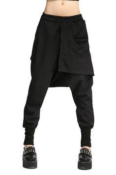 ELLAZHU Women Personality Elastic Waist Solid Harem Pants Onesize GY696 Black at Amazon Women's Clothing store: