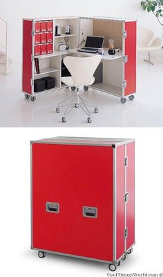 Fold able Office :) Except for a lack of work space, this would be a great space saver Smart Furniture, Space Saving Furniture, Furniture Design, The Office, Office Decor, Fold Away Desk, String Regal, Mobile Office, Tiny Spaces