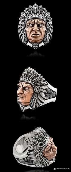 "NightRider Jewelry Custom Made-To-Order ""Chief"" Native American Indian Head Ring 