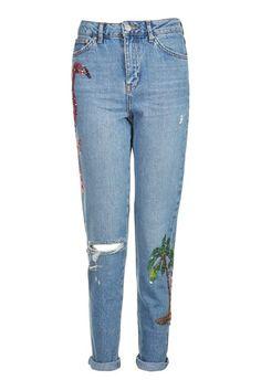 Moto Flamingo Sequin Mom Jeans