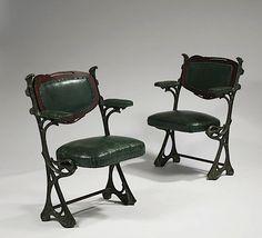 Hector Guimard art nouveau chairs 1905 - pair of seats from the Humbert de Romans  concert hall Paris