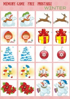 SEASONS - #MEMORY #GAME FREE PRINTABLES Christmas Activities For Kids, Preschool Christmas, Preschool Crafts, Christmas Crafts, Memory Games For Kids, Games For Toddlers, Diy And Crafts, Crafts For Kids, Christmas Writing