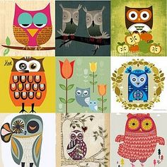 retro/ folk art owls