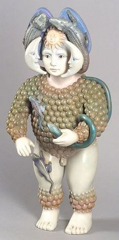 Figure, signed SERGIO BUSTAMANTE 8/10 upper right. Painted resin ...