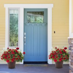 "Say ""welcome"" with bold color at your front door #onestepstyle #hgtvhomeplants"