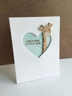 (I'm in Haven) I am having so much fun with all the new Simon Says Stamp Picture Book animal dies! They are so cute, and so much fun! I used my Picture Book Giraffe die to make a baby card.I die cut the giraff Cricut Cards, Stampin Up Cards, Tarjetas Diy, Karten Diy, New Baby Cards, Kids Cards, Cute Cards, Creative Cards, Scrapbook Cards