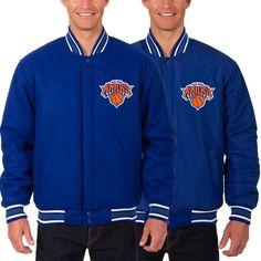 New York Knicks JH Design Reversible Wool Logo Jacket - Royal