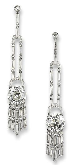 A Pair Of Exquisite Art Deco Diamond Ear Pendants By Janesich   c.1930's