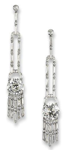 A Pair Of Exquisite Art Deco Diamond Ear Pendants By Janesich   c.1930's