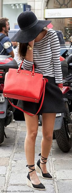 Spring / Summer - street chic style - black flared mini skirt + black and white stripped long sleeve top + black floppy hat + black wedges + red handbag
