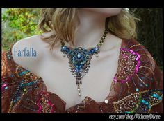 """""""Farfalla"""" Butterfly Statement Necklace, Vintage Filigree, Rhinestones, Pearls by #AlchemyDivinCouture  #CoutureJewelry"""