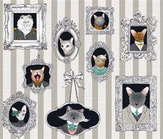 Cat Family Portraits fabric by juliesfabrics on Spoonflower - custom fabric