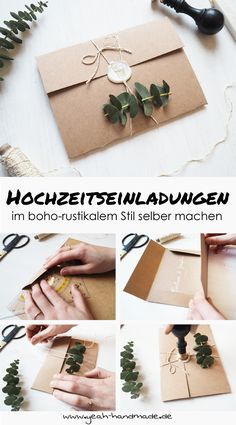 DIY Hochzeitseinladungen im boho-rustikalen Stil Make your own handmade kraft paper and eucalyptus wedding invitations, a perfect wedding shower for a boho wedding or a rustic-style wedding. DIY instructions and tips can be found on Yeah Handmade. Wedding Invitations Diy Handmade, Diy Invitations, Wedding Stationery, Invitation Cards, Diy Wedding Envelopes, Wedding Invitation Boho, Kraft Wedding Invitations, Invitations Online, Invitation Wording