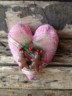 OOAK Red Check Gingerbread man Holiday Heart Ornament