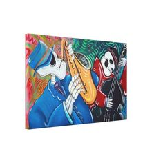Blues Band Stretched Canvas Print by LauraBarbosaArt $215.00