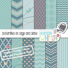 Slate Blue and Sage Green Digital Paper Pack - DD Team February Facebook Hop Coordinate – butterfly patterns - instant download - CU OK #digiscrap #scrapbook #blue #digitalpaper #scrapbookpaper #butterflies