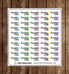 You will receive a sheet of 50 family time stickers.   *All stickers are printed on high quality sticker paper and kiss cut for easy