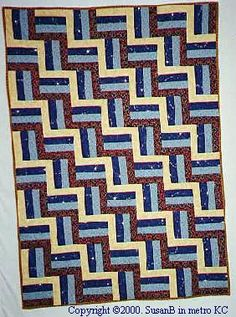 Rail Fence Quilt,  I have done one of these and didn't know that's what it is called