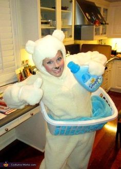 Snuggle Fabric Softener Bear - creative Halloween costume idea. This could be modified to be less hot for Florida weather but awesome idea!