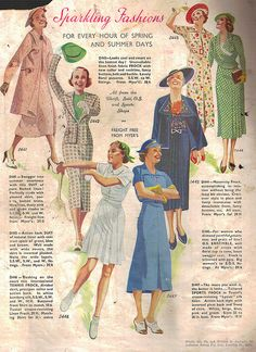 Sparkling fashions for every hour of spring and summer days. #vintage #1930s #fashion