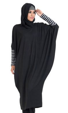 Style provides extra room at chest and waist. Stripe detail on sleeve cuff, extra long length beneath knees Black Hijab, Moslem Fashion, Kaftan Style, Hijab Fashion Inspiration, Modest Wear, Islamic Clothing, Cotton Tunics, Muslim Women, Fashion 2020