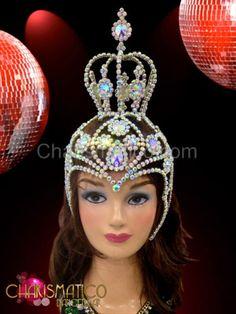 Rhinestone-and-iridescent-crystal-swirled-cap-mini-crown-showgirls-headdress