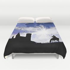 The return of the knight Duvet Cover by Pirmin Nohr - $99.00 A knight is coming home on a dark evening, the sun is peeking through the dark clouds Photomontage of some of my own photos.   Silhouettes, fantasy, landscape, castle, towers, horse, animal, tree, birds, angry sky,  blue, purple, sun, sunbeams, sunrays