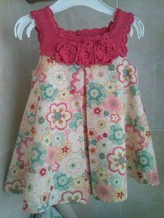 Crochet kids top little girls 51 Ideas for 2019 Crochet Tutu, Crochet Yoke, Crochet Fabric, Baby Girl Crochet, Crochet Baby Clothes, Crochet For Kids, Crochet Patterns, Toddler Girl Dresses, Little Girl Dresses