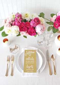 Pink and Gold Engagement Party Place Setting with a Custom Glitter Menu | http://heyweddinglady.com/styling-glitter-glam-engagement-party-cricut-sponsored/