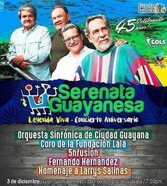 @Regrann_App from @sguayanesa -  Este 3 de #Diciembre te invitamos a celebrar nuestros #45años haciendo #MusicaVenezolana En el @centroitalovg Con la #OrquestaSinfonica de #CiudadGuayana  @5nfusion  @hzfernando  el #Coro de la @fundacionlalave  y un homenaje especial a #LarrysSalinas ENTRADAS A LA VENTA EN @cibuspzo y @librerialatina de @orinokia_mall  TE ESPERAMOS #CantaCon #SerenataGuayanesa #Venezuela #Caracas #CiudadBolivar #PuertoOrdaz - #regrann