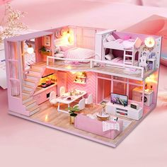 Dolls & Stuffed Toys Diy Doll House Wooden Furniture House Miniature Puzzle Toy Assemble 3d Miniaturas Dollhouse Kits Toys For Children Birthday Gift Toys & Hobbies