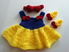This item is unavailable : Crochet baby dress Red Yellow & Blue by CutiesOutfitsByBelle Crochet Baby Boots, Baby Girl Crochet, Crochet Baby Clothes, Crochet Baby Halloween, Crochet Baby Costumes, Mode Crochet, Easy Crochet, Knit Crochet, Hello Kitty Dress