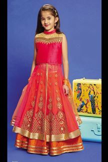 Show details for Attractive pink & orange lehenga choli