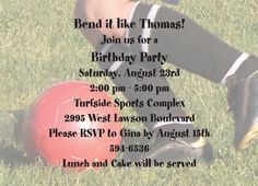 "Soccer Feet Party Invitation. 6 3/4"" x 4 7/8""."