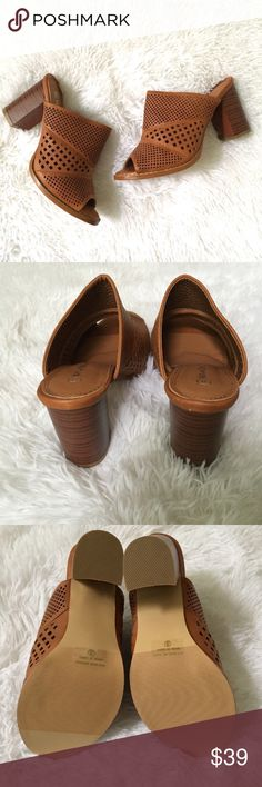 Cognac Leatherette Perforated Chunky Heel Sandal Cognac camel brown vegan leather chunky heel mule sandal with perforated cutout detail. Size 8 but seems to run a half size small so these would best fit a 7.5, in my opinion. Heel height is approximately 3.5 inches. Never worn & comes with box. Nature Breeze Shoes Sandals