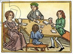 MEDIEVAL: GAMBLING, 1472 Gambling with cards. Woodcut from Meister Ingold's 'Das goldene spiel,' Augsburg, 1472.