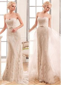 Chic Tulle & Satin Sweetheart Neckline 2 In 1 Wedding Dresses With Lace Appliques